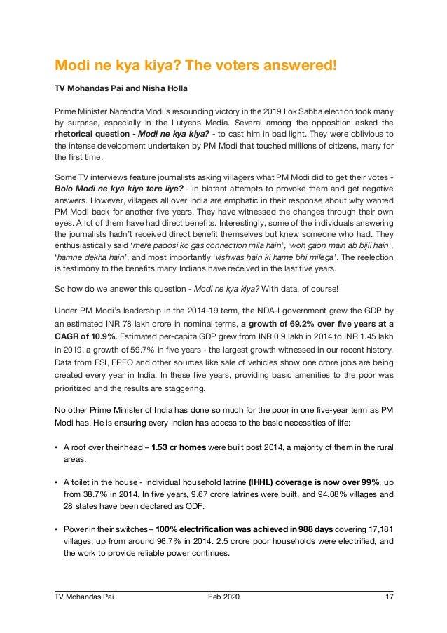 TV Mohandas Pai Feb 2020 17 Modi ne kya kiya? The voters answered! TV Mohandas Pai and Nisha Holla Prime Minister Narendra...
