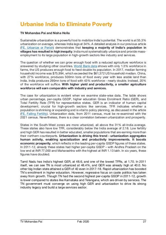 TV Mohandas Pai Feb 2020 27 Urbanise India to Eliminate Poverty TV Mohandas Pai and Nisha Holla Sustainable urbanization i...