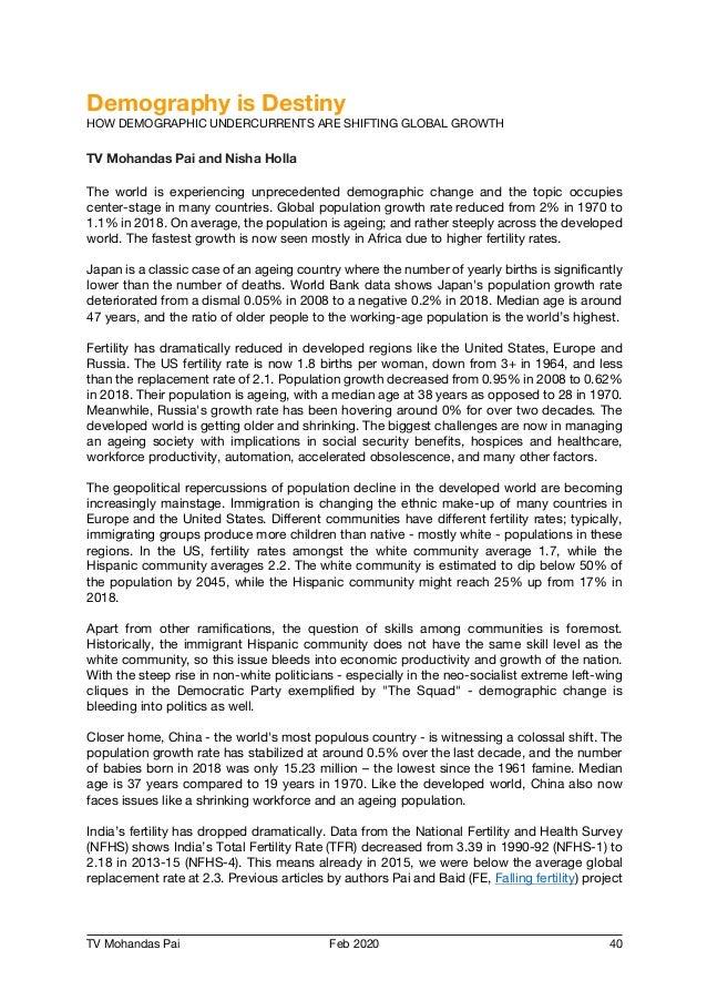 TV Mohandas Pai Feb 2020 40 Demography is Destiny HOW DEMOGRAPHIC UNDERCURRENTS ARE SHIFTING GLOBAL GROWTH TV Mohandas Pai...
