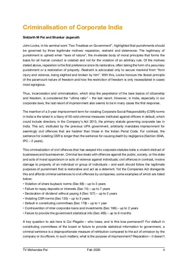 TV Mohandas Pai Feb 2020 4 Criminalisation of Corporate India Siddarth M Pai and Shankar Jaganath John Locke, in his semin...
