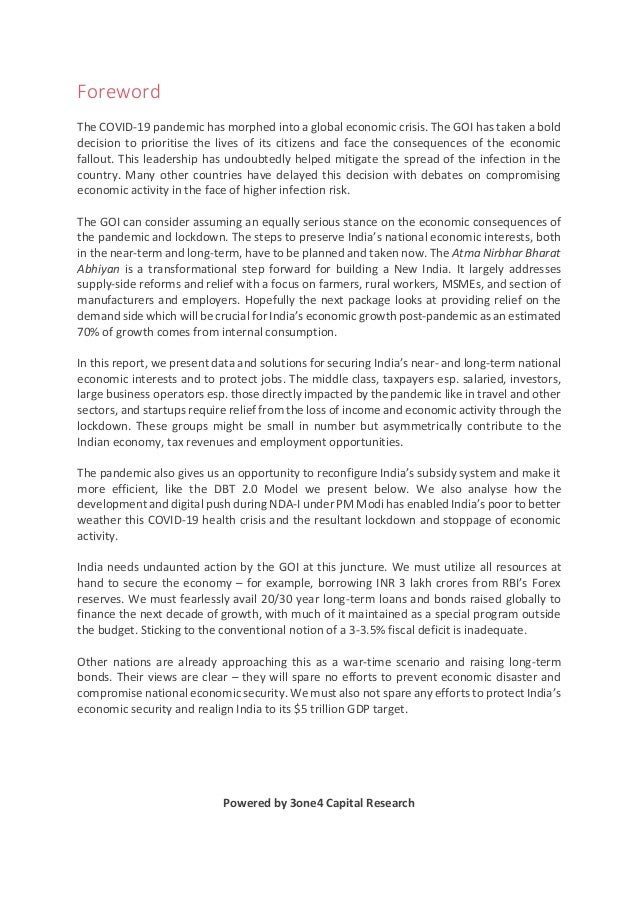 Foreword The COVID-19 pandemic has morphed into a global economic crisis. The GOI has taken a bold decision to prioritise ...