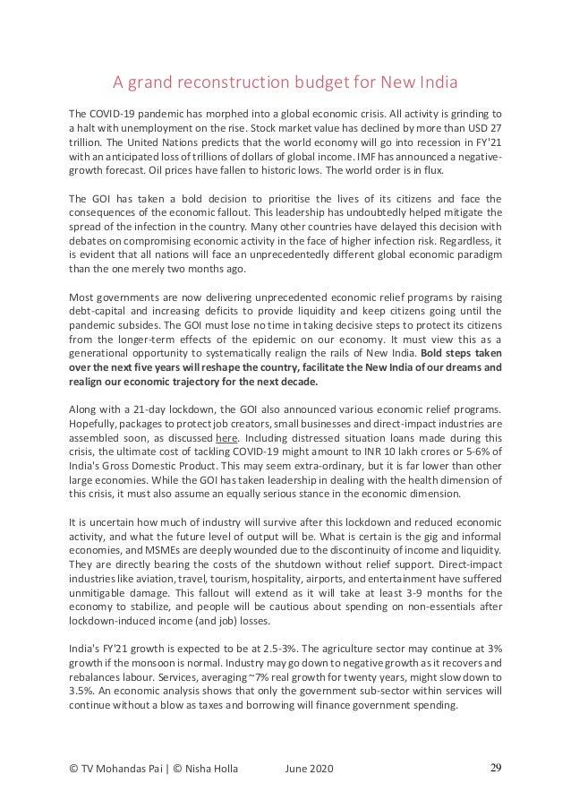 © TV Mohandas Pai | © Nisha Holla June 2020 29 A grand reconstruction budget for New India The COVID-19 pandemic has morph...