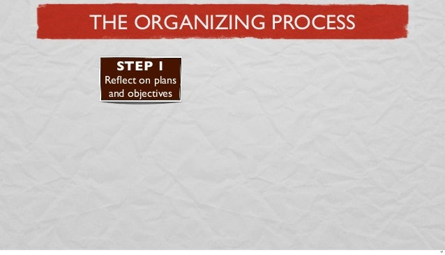 THE ORGANIZING PROCESS STEP 1 Reflect on plans and objectives  17