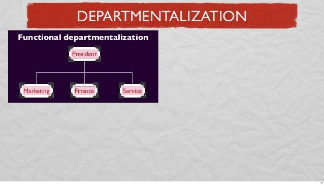 DEPARTMENTALIZATION Functional departmentalization President  Marketing  Finance  Service  19