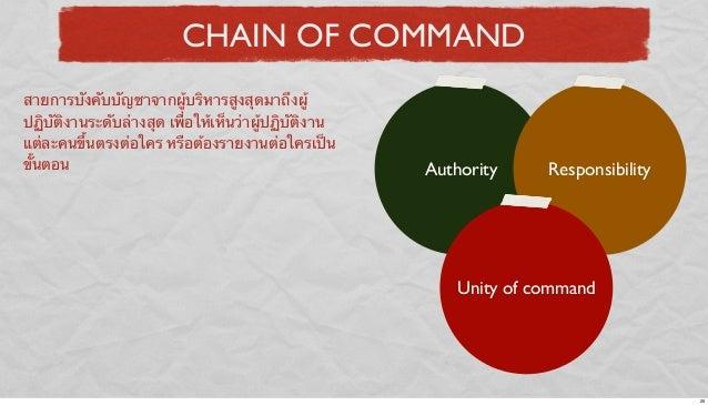 CHAIN OF COMMAND สายการบังคับบัญชาจากผู้บริหารสูงสุดมาถึงผู้ ปฏิบัติงานระดับล่างสุด เพื่อให้เห็นว่าผู้ปฏิบัติงาน แต่ละคนขึ...