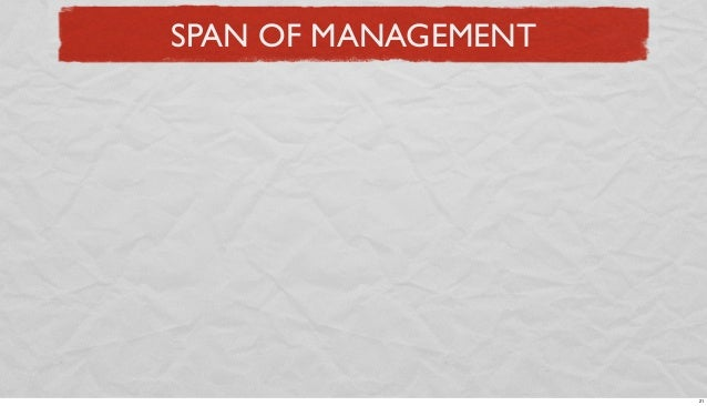 SPAN OF MANAGEMENT  21