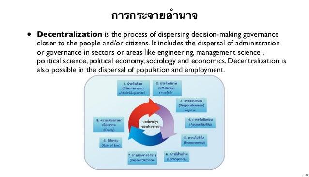 การกระจายอํานาจ  •  Decentralization is the process of dispersing decision-making governance closer to the people and/or c...