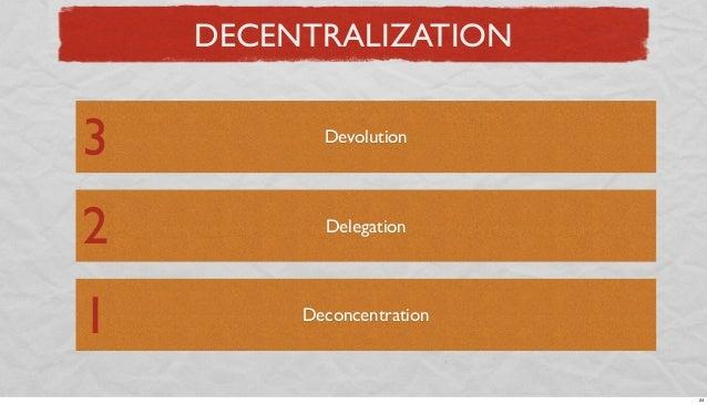 DECENTRALIZATION  3  Devolution  2  Delegation  1  Deconcentration  24