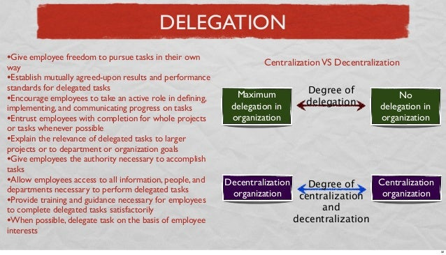 DELEGATION •Give employee freedom to pursue tasks in their own  way •Establish mutually agreed-upon results and performanc...