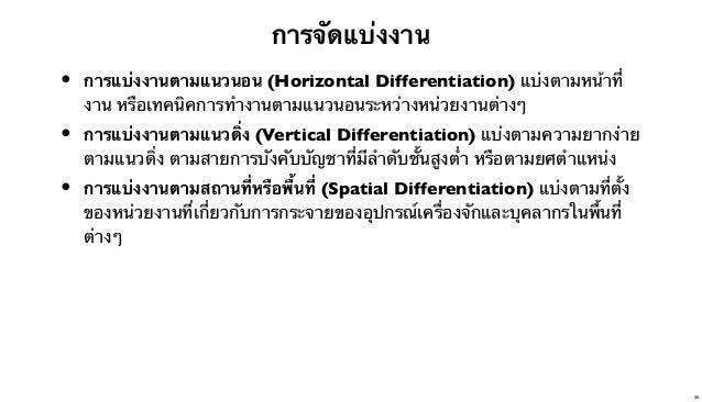 การจัดแบ่งงาน  •  การแบ่งงานตามแนวนอน (Horizontal Differentiation) แบ่งตามหน้าที่ งาน หรือเทคนิคการทํางานตามแนวนอนระหว่างห...
