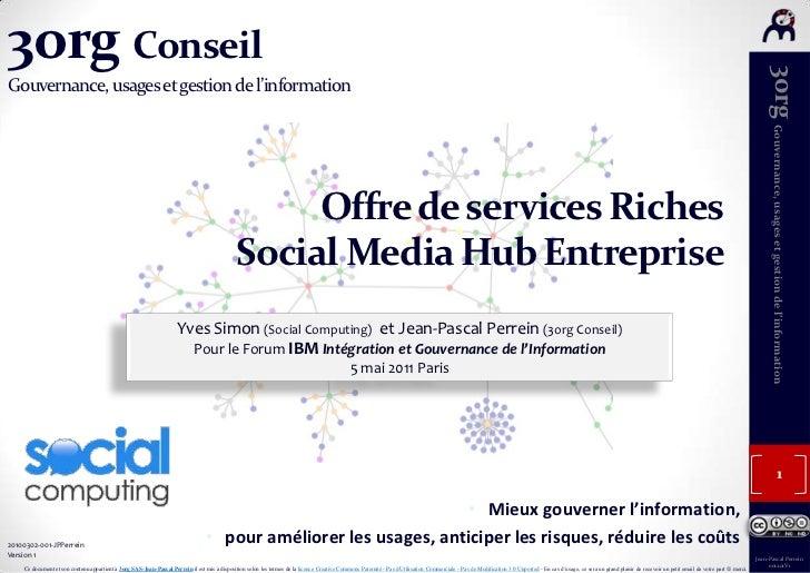 3org ConseilGouvernance, usages et gestion de l'information<br />Offre de services Riches<br />Social Media Hub Entreprise...