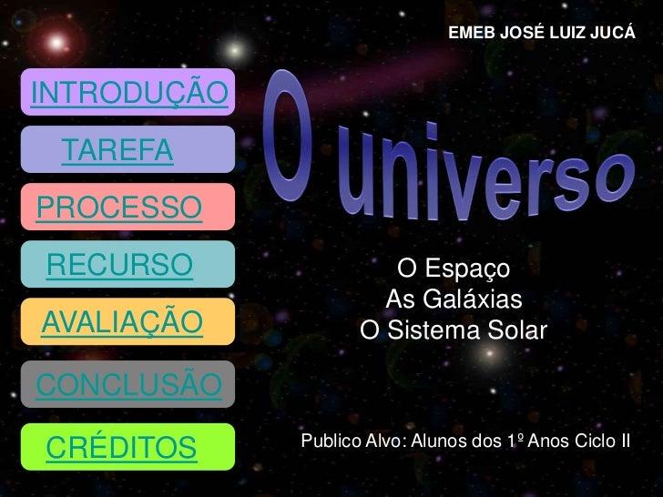 EMEB JOSÉ LUIZ JUCÁINTRODUÇÃO TAREFAPROCESSORECURSO                O Espaço                      As GaláxiasAVALIAÇÃO     ...