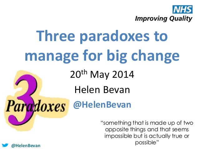 """@HelenBevan Three paradoxes to manage for big change 20th May 2014 Helen Bevan @HelenBevan """"something that is made up of t..."""
