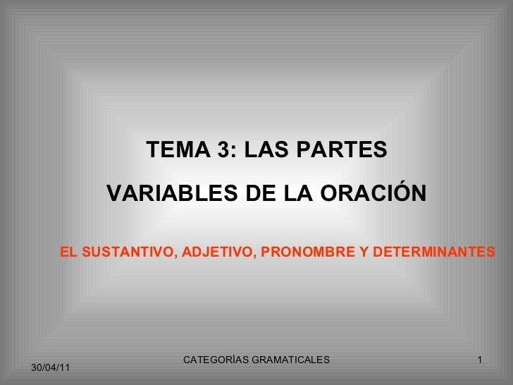 TEMA 3: LAS PARTES VARIABLES DE LA ORACIÓN EL SUSTANTIVO, ADJETIVO, PRONOMBRE Y DETERMINANTES