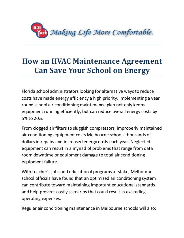 How An HVAC Maintenance Agreement Can Save Your School On Energy Florida  School Administrators Looking For ...