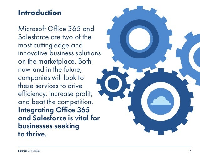 3  Introduction  Microsoft Office 365 and  Salesforce are two of the  most cutting-edge and  innovative business solutions...