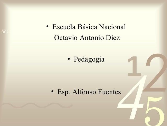 421 0011 0010 1010 1101 0001 0100 1011 • Escuela Básica Nacional Octavio Antonio Diez • Pedagogía • Esp. Alfonso Fuentes
