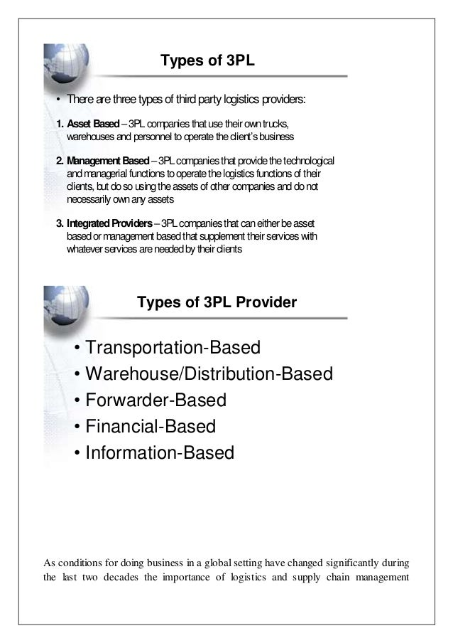 3PL or Third Party Logistics Essay Sample
