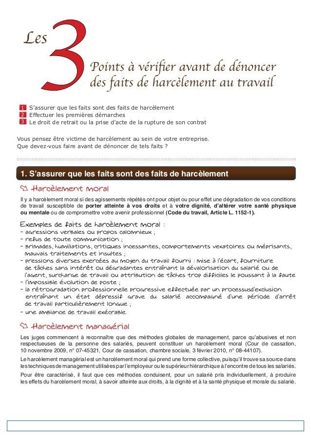 1   S'assurer que les faits sont des faits de harcèlement 2   Effectuer les premières démarches 3   Le droit de retrait ou...