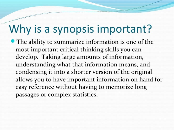 how to write a synopsis for a report
