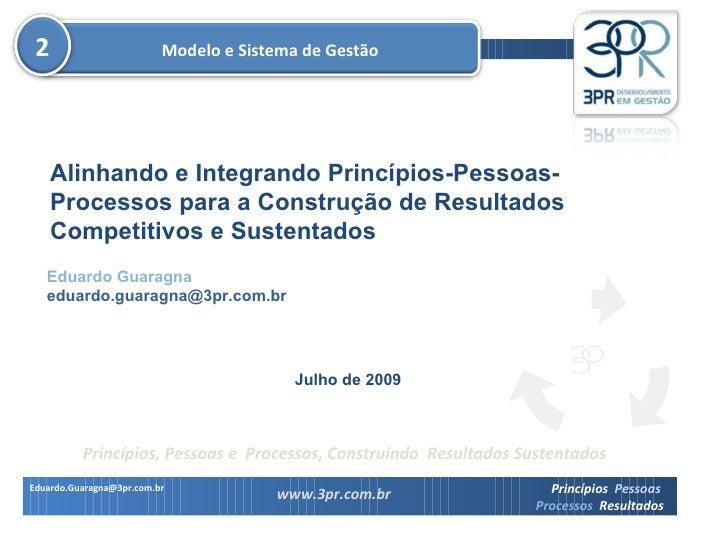 Eduardo Guaragna [email_address] Julho de 2009 Modelo e Sistema de Gestão Alinhando e Integrando Princípios-Pessoas-Proces...