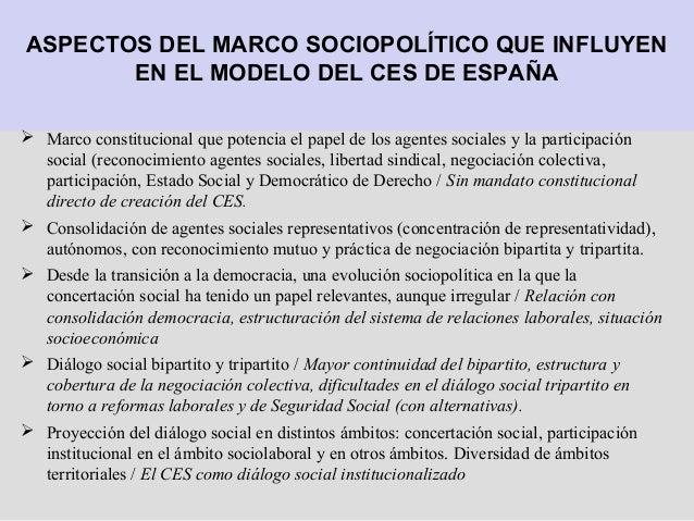 ASPECTOS DEL MARCO SOCIOPOLÍTICO QUE INFLUYEN EN EL MODELO DEL CES DE ESPAÑA  Marco constitucional que potencia el papel ...