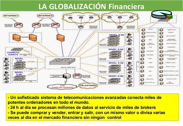 LA GLOBALIZACIÓN Financiera - Un sofisticado sistema de telecomunicaciones avanzadas conecta miles de potentes ordenadores...