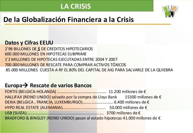 LA CRISIS De la Globalización Financiera a la Crisis Datos y Cifras EEUU 2'98 BILLONES DE $ DE CREDITOS HIPOTECARIOS 600.0...