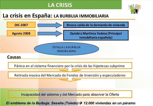 LA CRISIS La crisis en España: LA BURBUJA IMMOBILIARIA Pánico en el sistema financiero por la crisis de las hipotecas subp...