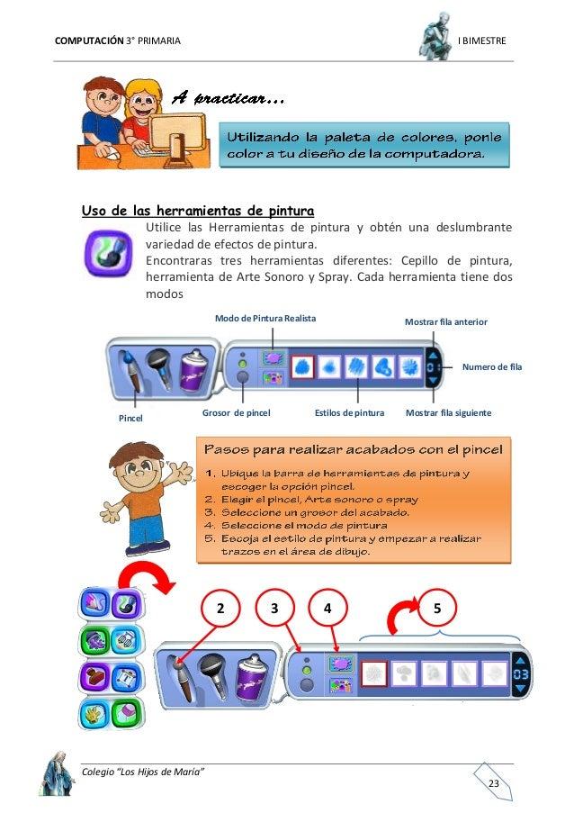 """COMPUTACIÓN 3° PRIMARIA I BIMESTRE Colegio """"Los Hijos de María"""" 24 El """"manos libres"""" permite que el sonido realice la pint..."""
