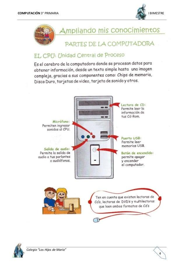 """COMPUTACIÓN 3° PRIMARIA I BIMESTRE Colegio """"Los Hijos de María"""" 5"""
