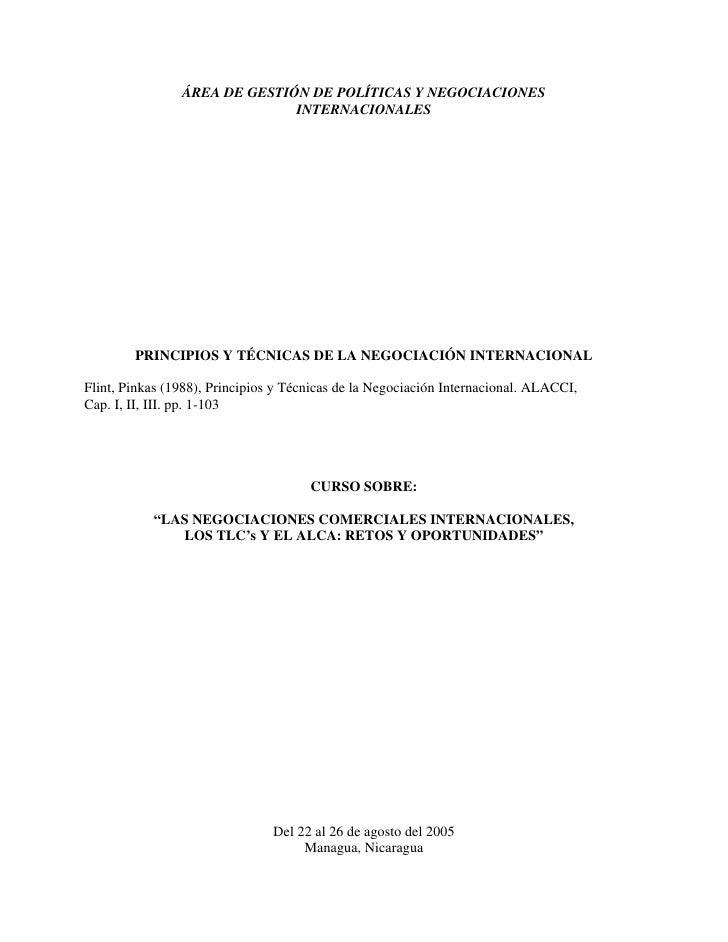 ÁREA DE GESTIÓN DE POLÍTICAS Y NEGOCIACIONES                              INTERNACIONALES        PRINCIPIOS Y TÉCNICAS DE ...