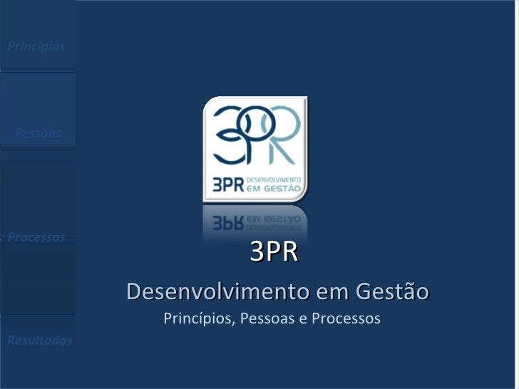 Princípios  Pessoas  Processos  Resultados Princípios, Pessoas e Processos  3PR   Desenvolvimento em Gestão