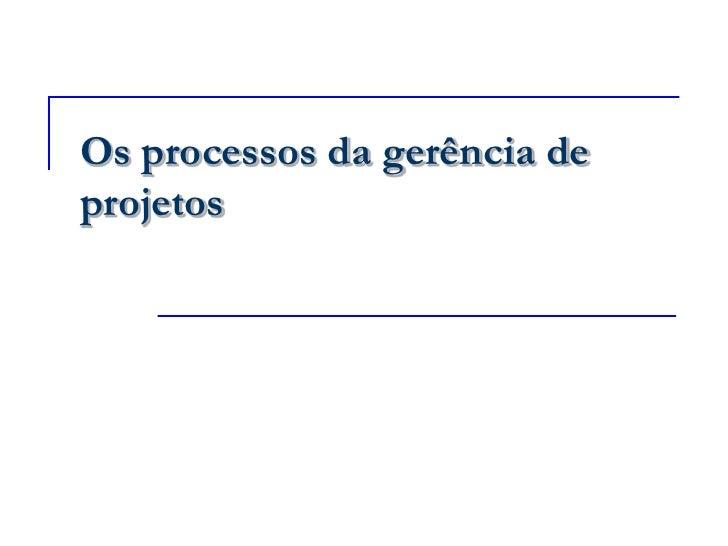 Os processos da gerência de projetos<br />