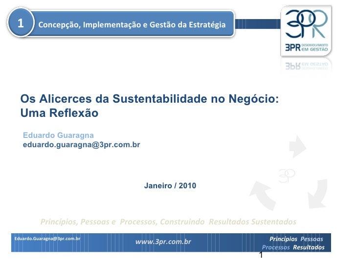 Eduardo Guaragna [email_address] Os Alicerces da Sustentabilidade no Negócio: Uma Reflexão Janeiro / 2010 Concepção, Imple...