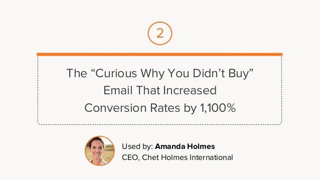 """The """"Curious Why You Didn't Buy"""" Email That Increased Conversion Rates by 1,100% Used by: Amanda Holmes CEO, Chet Holmes I..."""