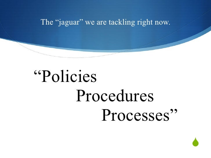 """ Policies  Procedures     Processes"" The ""jaguar"" we are tackling right now."