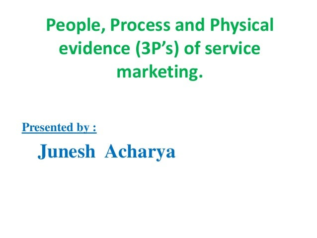 People, Process and Physical     evidence (3P's) of service             marketing.Presented by :  Junesh Acharya