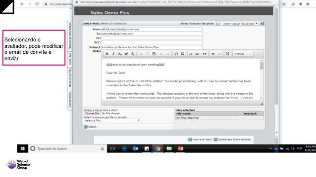 Selecionando o avaliador, pode modificar o email de convite e enviar.