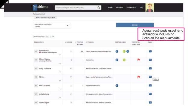 Agora, você pode escolher o avaliador e inclui-lo no ScholarOne manualmente.