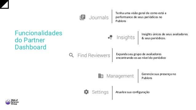Funcionalidades do Partner Dashboard Tenha uma visão geral de como está a performance de seus periódicos no Publons Insigh...