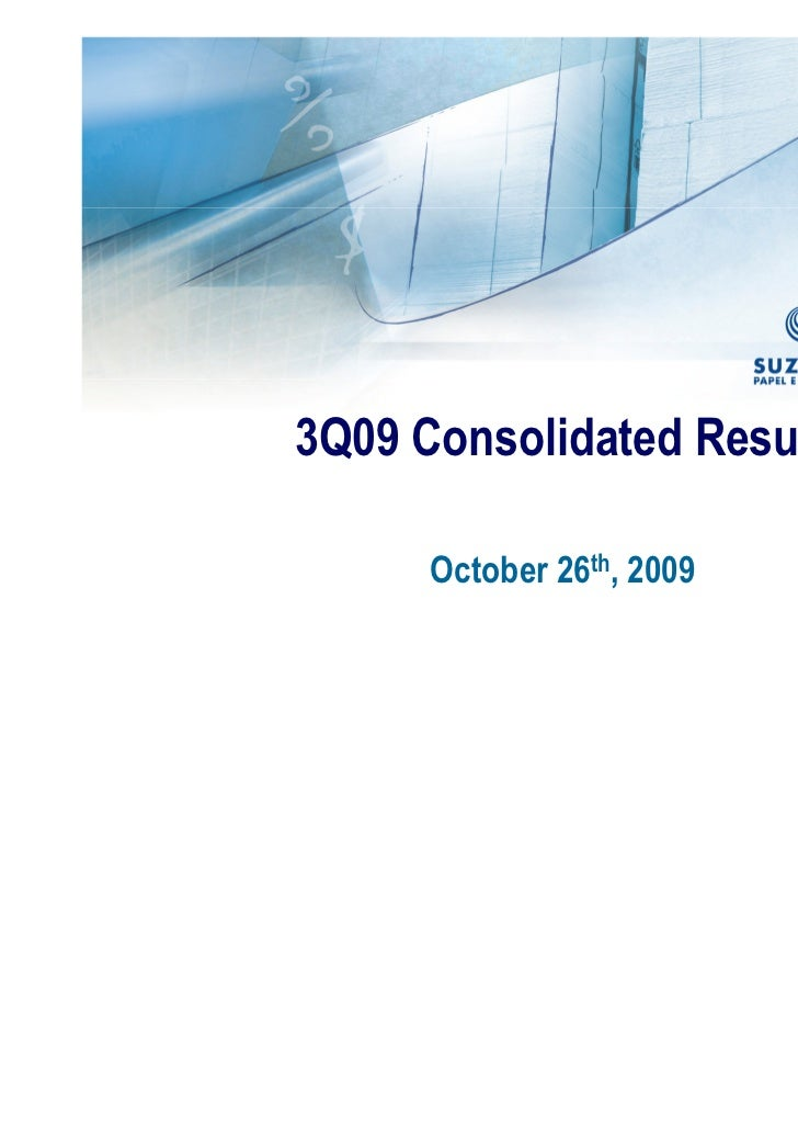 3Q09 Consolidated Results      October 26th, 2009