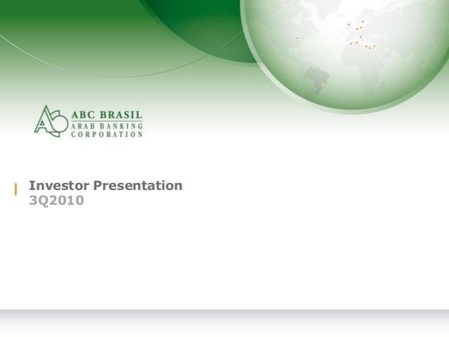 1 Investor Presentation 3Q2010