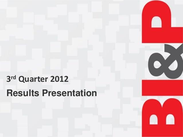 3rd Quarter 2012Results Presentation