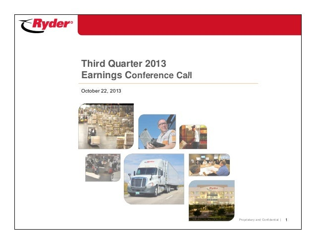 Third Quarter 2013 Earnings Conference Call October 22, 2013  Proprietary and Confidential |  1