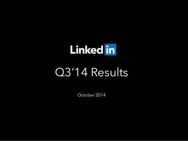 Q3'14 Results  October 2014
