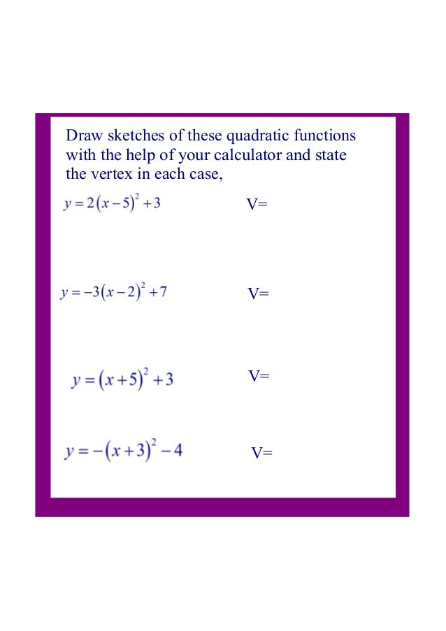 3 Quadratic Vertex Form