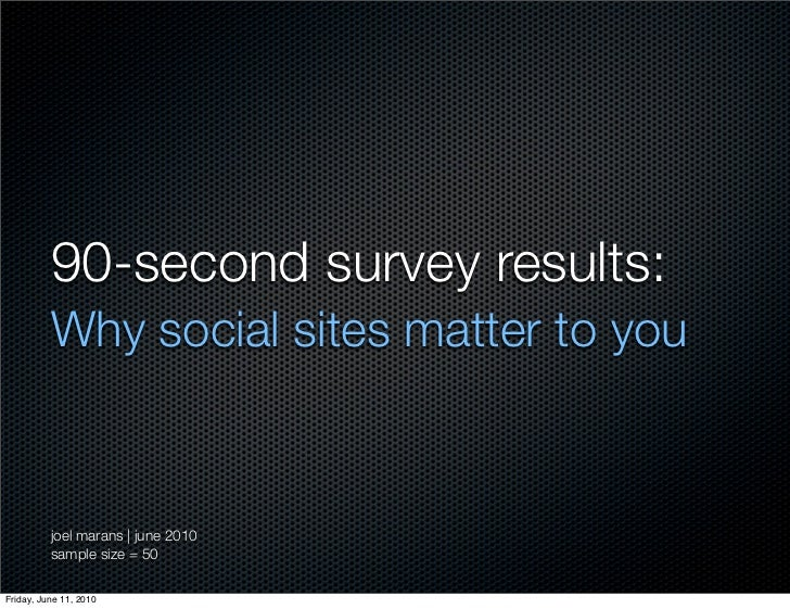 90-second survey results:          Why social sites matter to you          joel marans | june 2010          sample size = ...