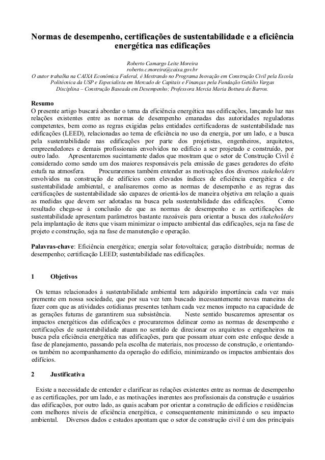 Normas de desempenho, certificações de sustentabilidade eNormas de desempenho, certificações de sustentabilidade e a efici...