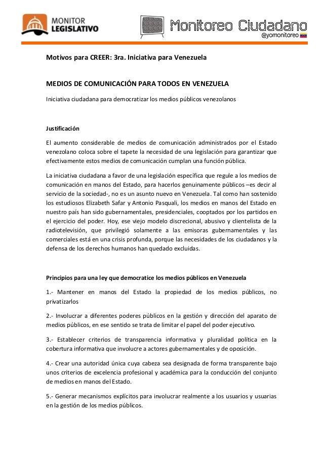 Motivos para CREER: 3ra. Iniciativa para VenezuelaMEDIOS DE COMUNICACIÓN PARA TODOS EN VENEZUELAIniciativa ciudadana para ...
